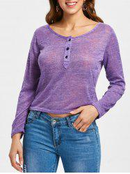Women's Stylish Pullover Long Sleeve Scoop Neck Solid Color Blouse -