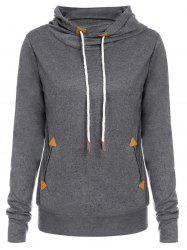 Stylish Hooded Long Sleeve Draped Spliced Women's Hoodie -