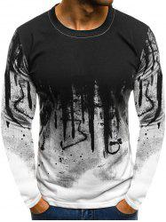 Splash-ink Pattern Round Neck T-shirt -