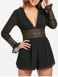 Lace Crochet Plunging Neck Romper -