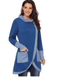 Striped Panel Cowl Neck Slit Sweatshirt -