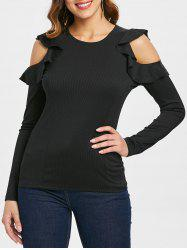 Frill Cut Out Sleeve T-shirt -
