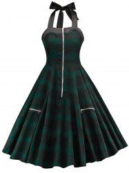 Tartan Print Halter Neck Vintage Dress -