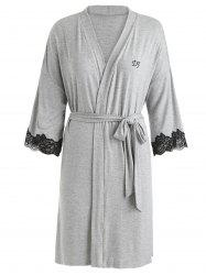 Belted Lace Insert Sleeping Robe -