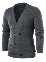Double Breasted Collarless Solid Color Cardigan -