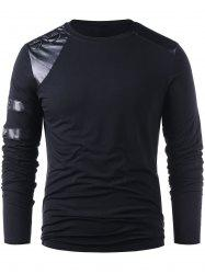 PU Leather Panel Long Sleeve T-shirt -