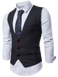 Plaid Three Buttons Business Vest -