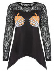 Halloween Lace Insert Printed Graphic T-shirt -