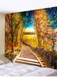 Autumn Forest Path Stair Print Decorative Wall Tapestry -