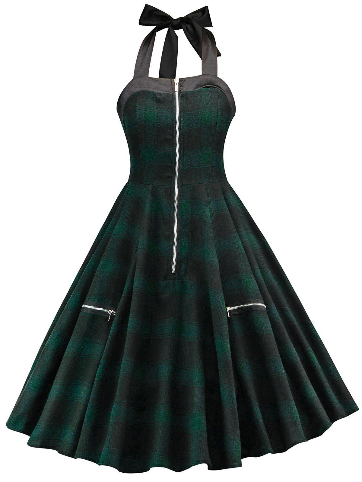 Chic Tartan Print Halter Neck Vintage Dress