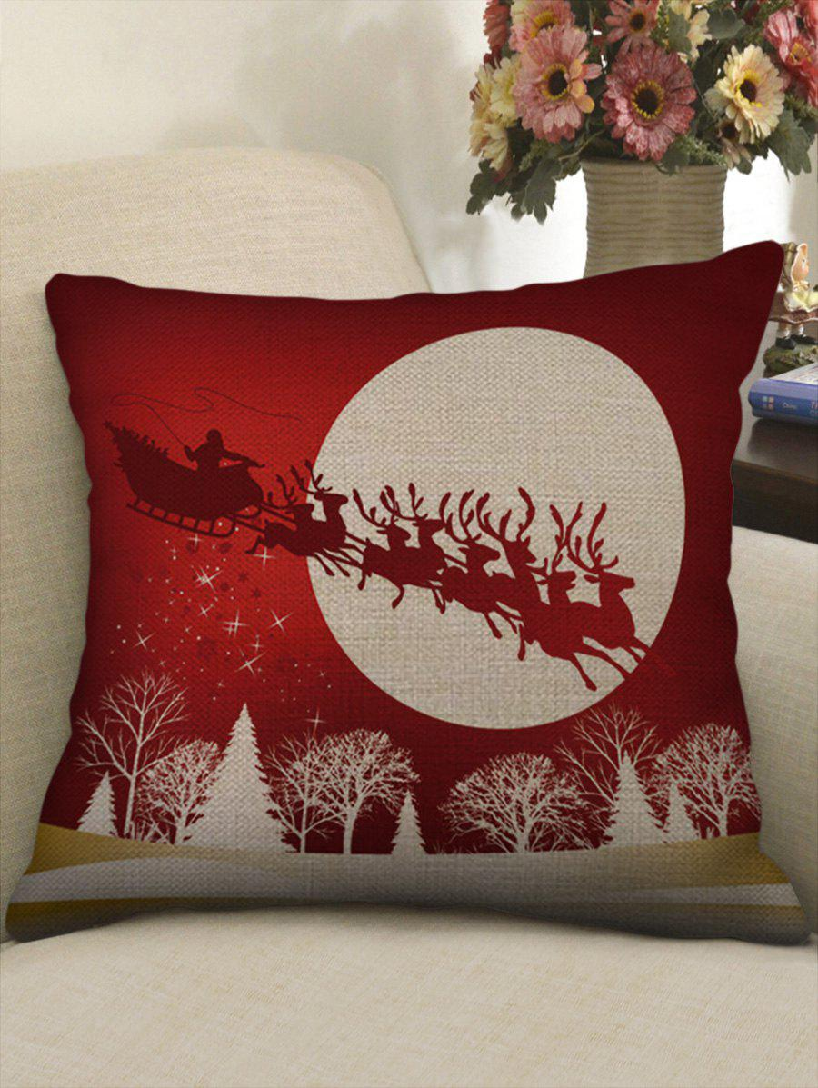 Trendy Christmas Sleigh Car Deer Tree Print Sofa Linen Pillowcase