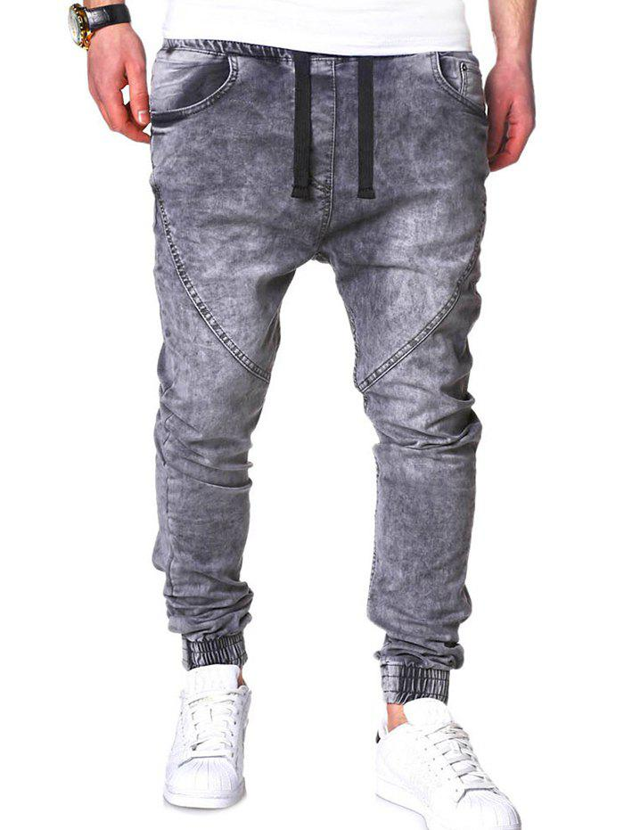 Cheap Stretchy Waist Slim Fit Jogger Jeans