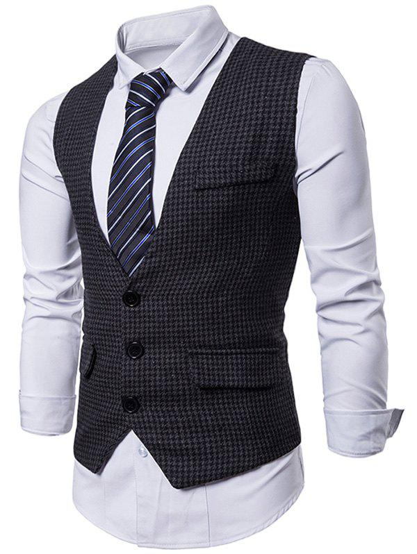 Hot Plaid Three Buttons Business Vest