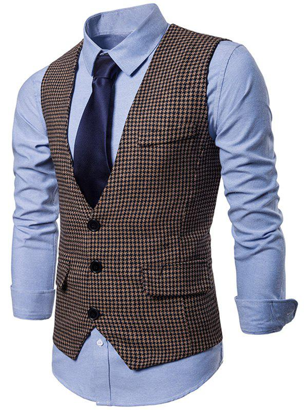 Buy Plaid Three Buttons Business Vest