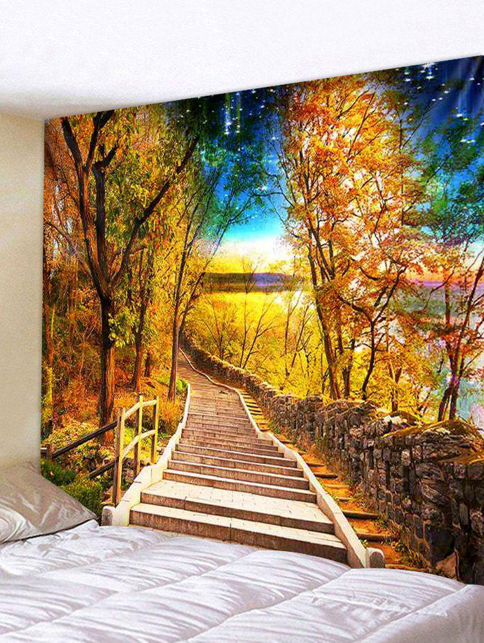 Chic Autumn Forest Path Stair Print Decorative Wall Tapestry