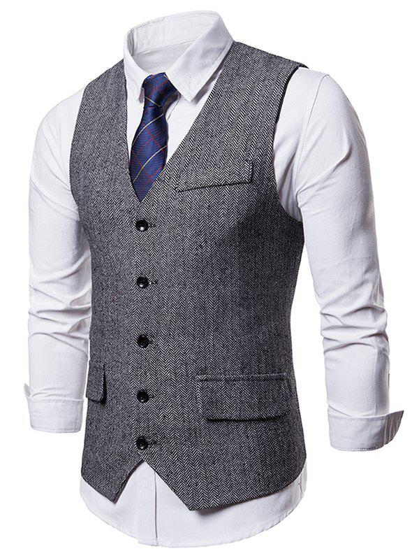 Shops Five-button False Pocket Vest