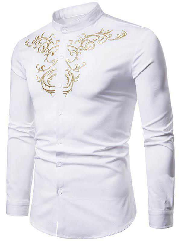 11d57d0a98e9 52% OFF   2019 Palace Style Chest Embroidery Long Sleeve Shirt ...