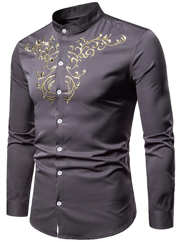 4289d6881353 Fashion Palace Style Chest Embroidery Long Sleeve Shirt