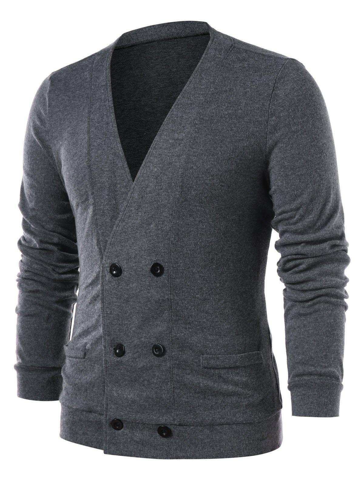 Discount Double Breasted Collarless Solid Color Cardigan