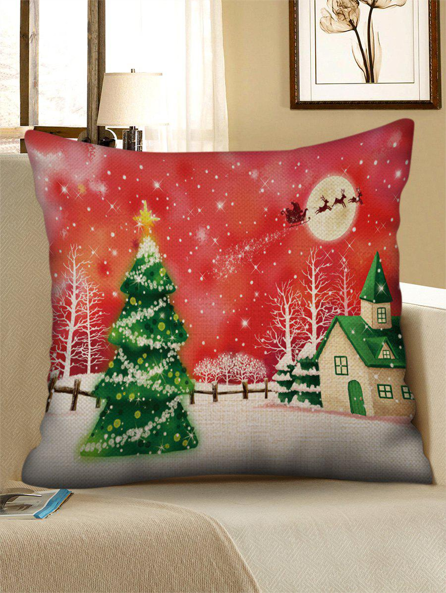 Best Christmas Tree Print Decorative Linen Pillowcase