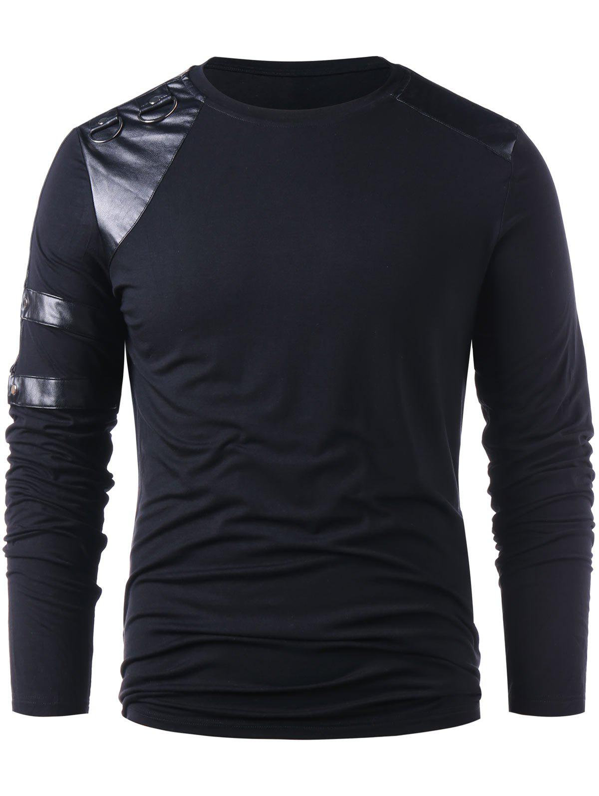 Affordable PU Leather Panel Long Sleeve T-shirt