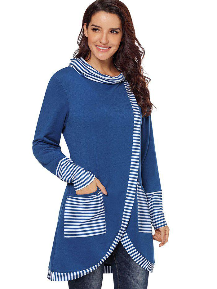 Fancy Striped Panel Cowl Neck Slit Sweatshirt