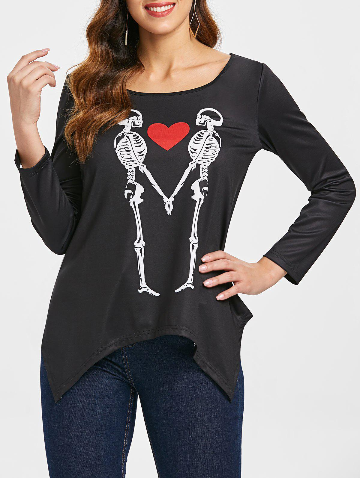 Outfits Skeleton Heart Print Graphic Tee