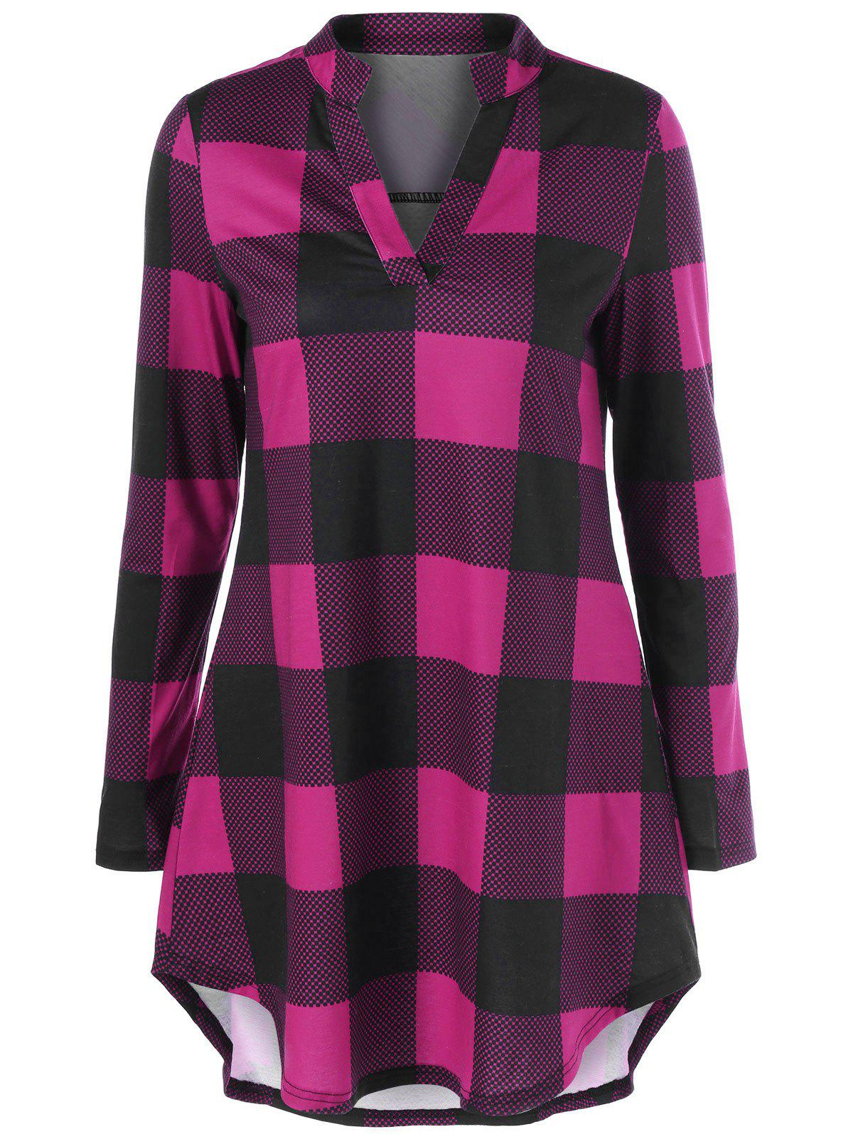 Latest Split Neck Long Plaid Boyfriend T-Shirt
