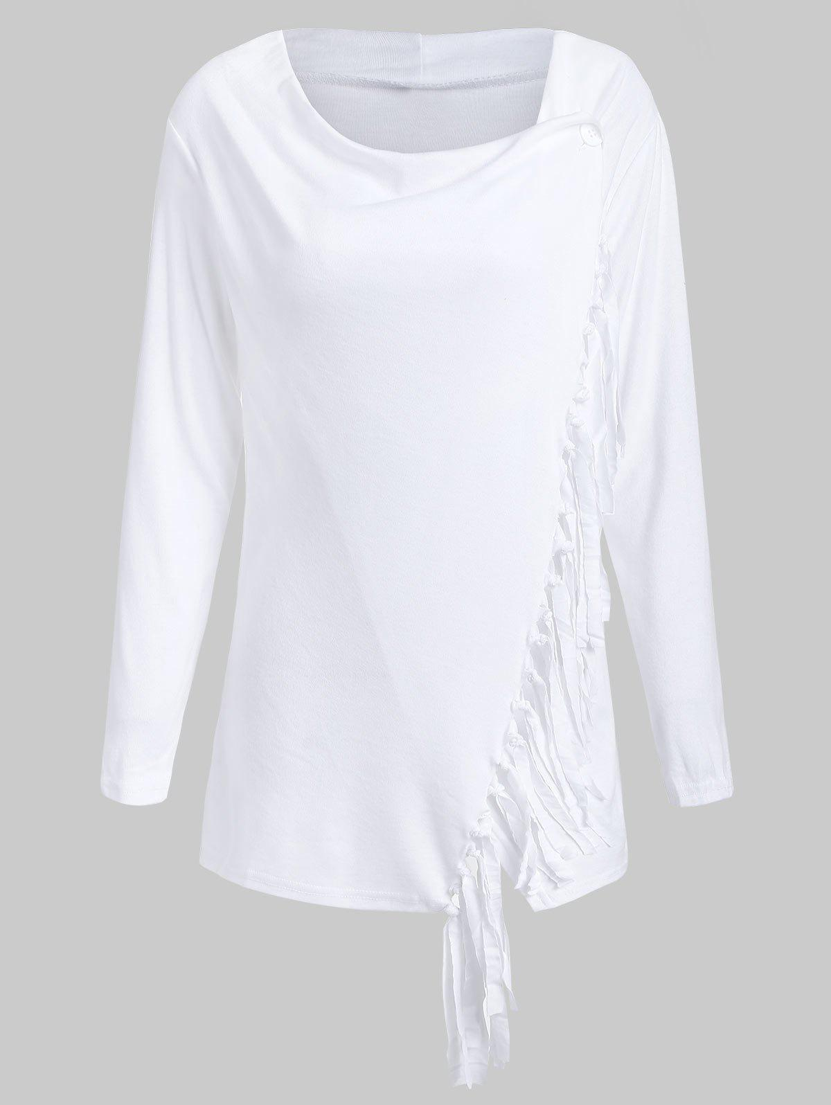New Tassel Asymmetric Long Sleeve Top