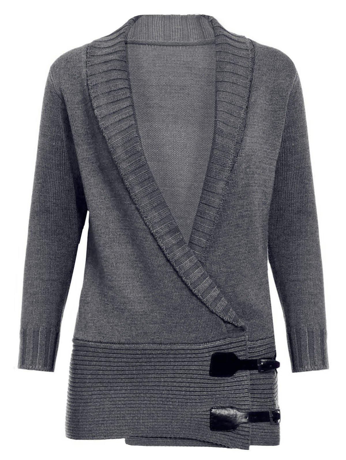 Buy Chic Shawl Collar Long Sleeve Button Design Women's Sweater