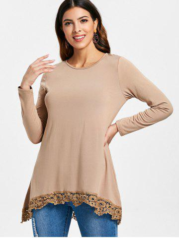 High Low Lace Panel Long Sleeve T-shirt
