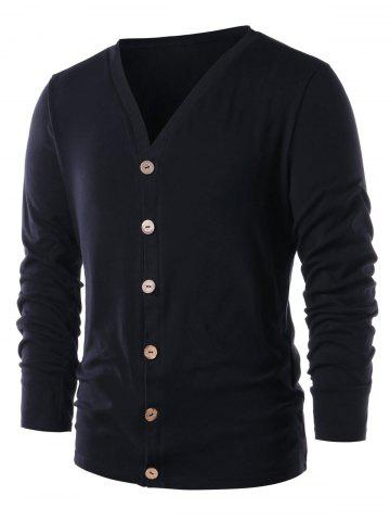 Collarless Solid Color Button Up Cardigan