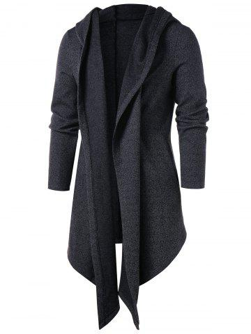 Hooded Solid Color Longline Cardigan