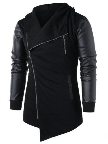 Asymmetric Zip Embellished Panel Coat