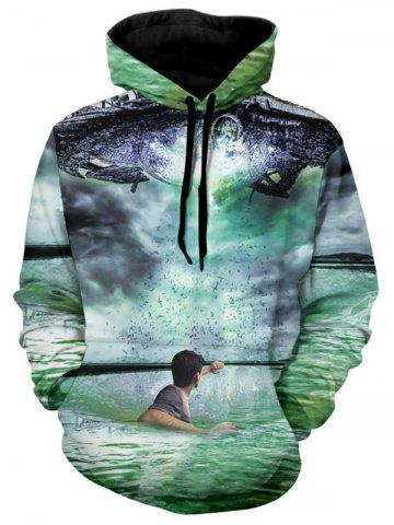 Man in Water Print Kanga Pocket Hoodie