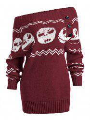 Skull Off Shoulder Tunic Sweater -