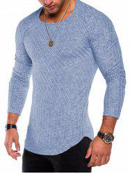 Long Sleeve Curved Hem Rib Patchwork Tee -