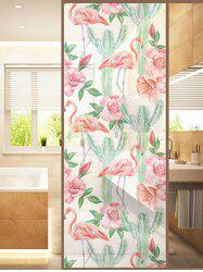 Frosted Flamingo Cactus Glass Sticker for Window Bathroom -