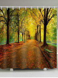 Road In Autumn Forest Print Bathroom Shower Curtain -