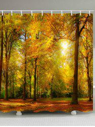 Sunny Autumn Forest Print Bathroom Shower Curtain -