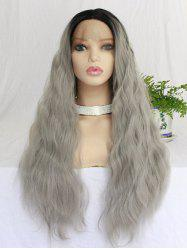 Long Middle Part Colormix Natural Wavy Synthetic Lace Front Wig -