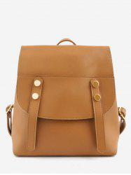 Flap PU Leather School Backpack -