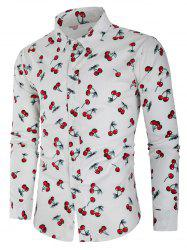 All Over Cherry Print Button Up Shirt -