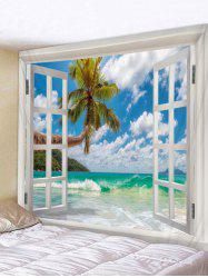 Wall Hanging Art Window Sea Wave Print Tapestry -