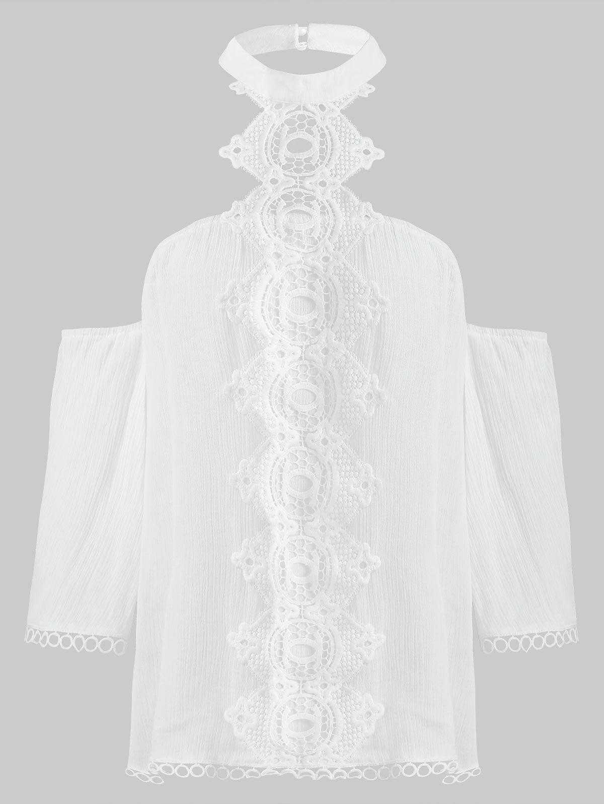 Unique Lace Panel Open Shoulder Blouse