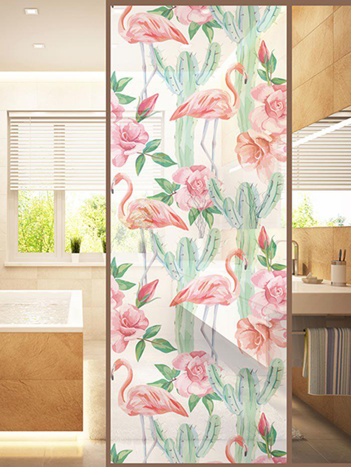Affordable Frosted Flamingo Cactus Glass Sticker for Window Bathroom
