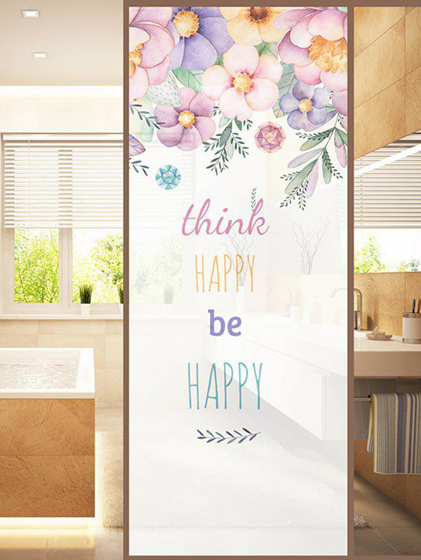 Chic Frosted HAPPY Quote Glass Sticker for Window Bathroom