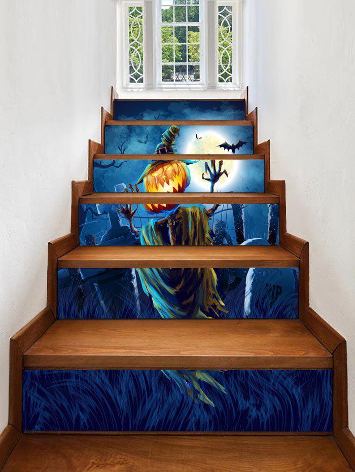 Sale Halloween Moon Tomb Print Decorative Stair Stickers