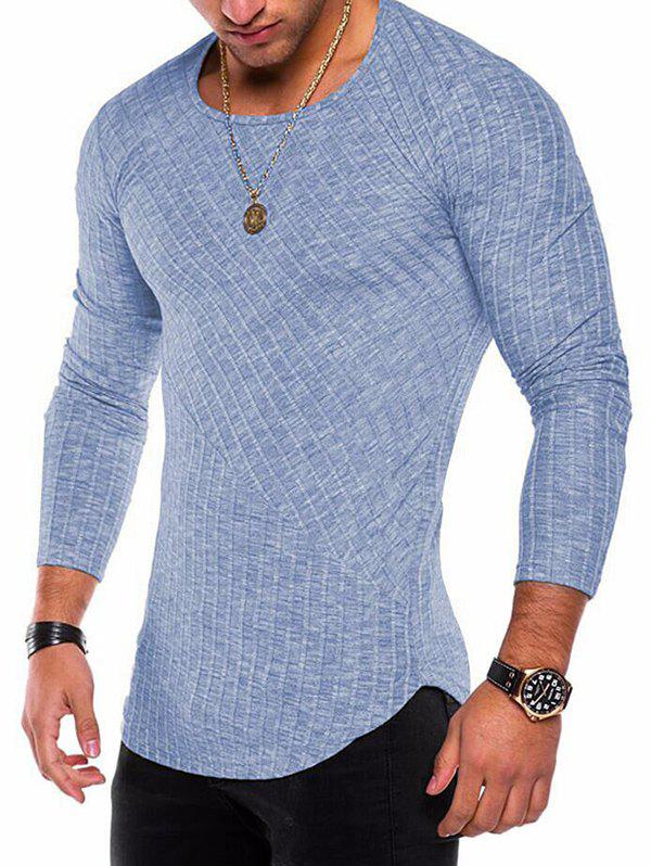 Store Long Sleeve Curved Hem Rib Patchwork Tee
