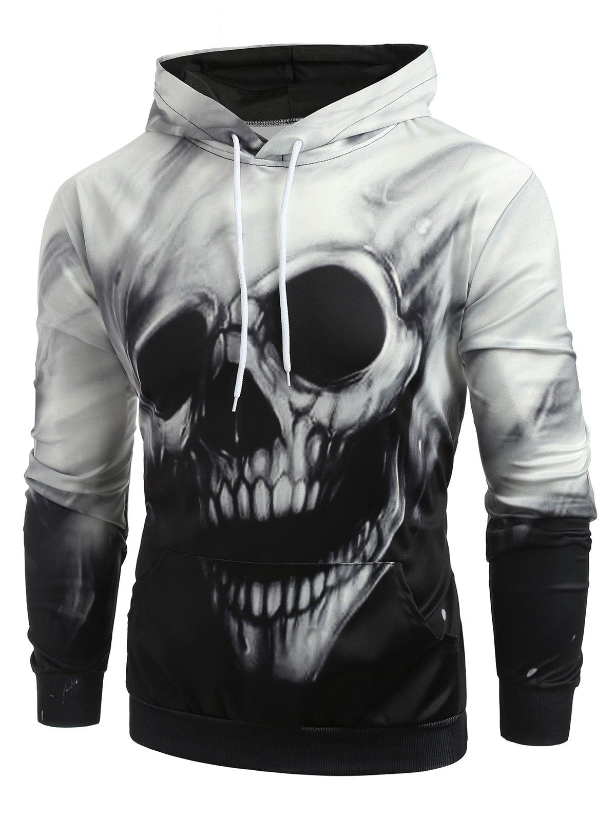 Affordable Fading Skull Print Long Sleeve Hoodie